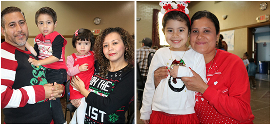 Two Hope Street families smile for a photo while dressed up for Christmas